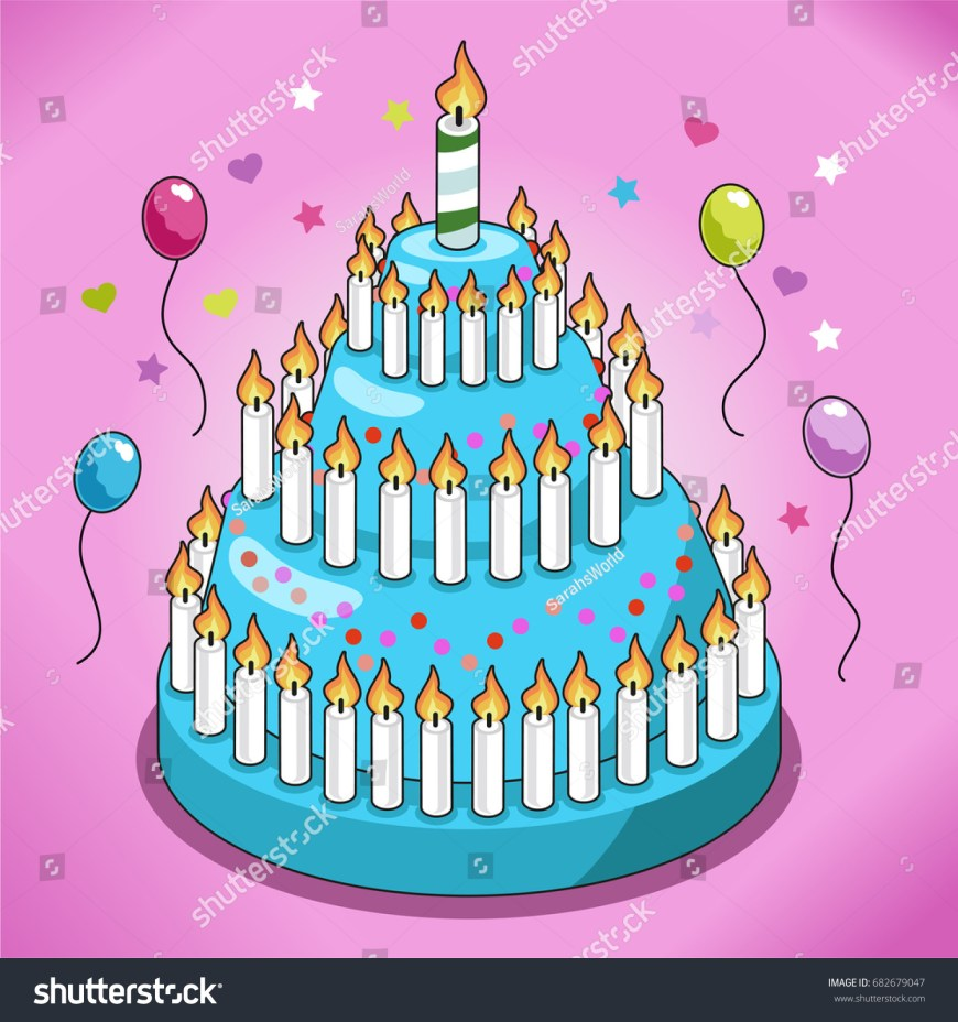 Huge Birthday Cake Huge Birthday Cake Turquoise Icing Candy Stock Vector Royalty Free