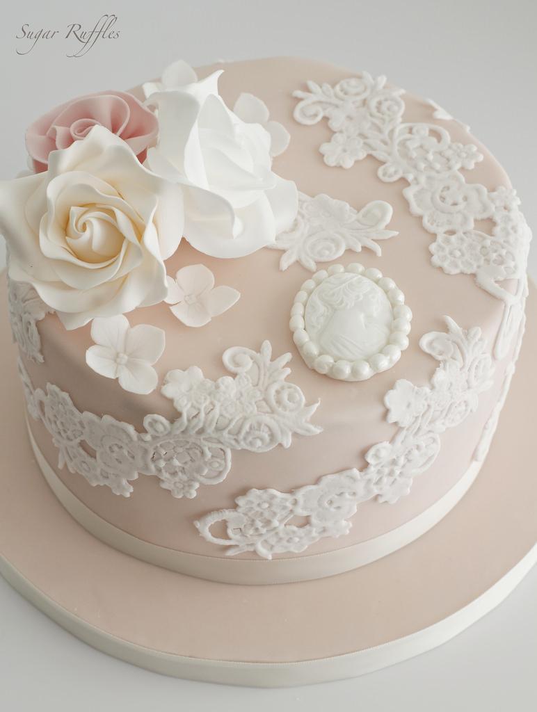Images Of Birthday Cake Essen Favor Blush Lace Birthday Cake 2484375 Weddbook