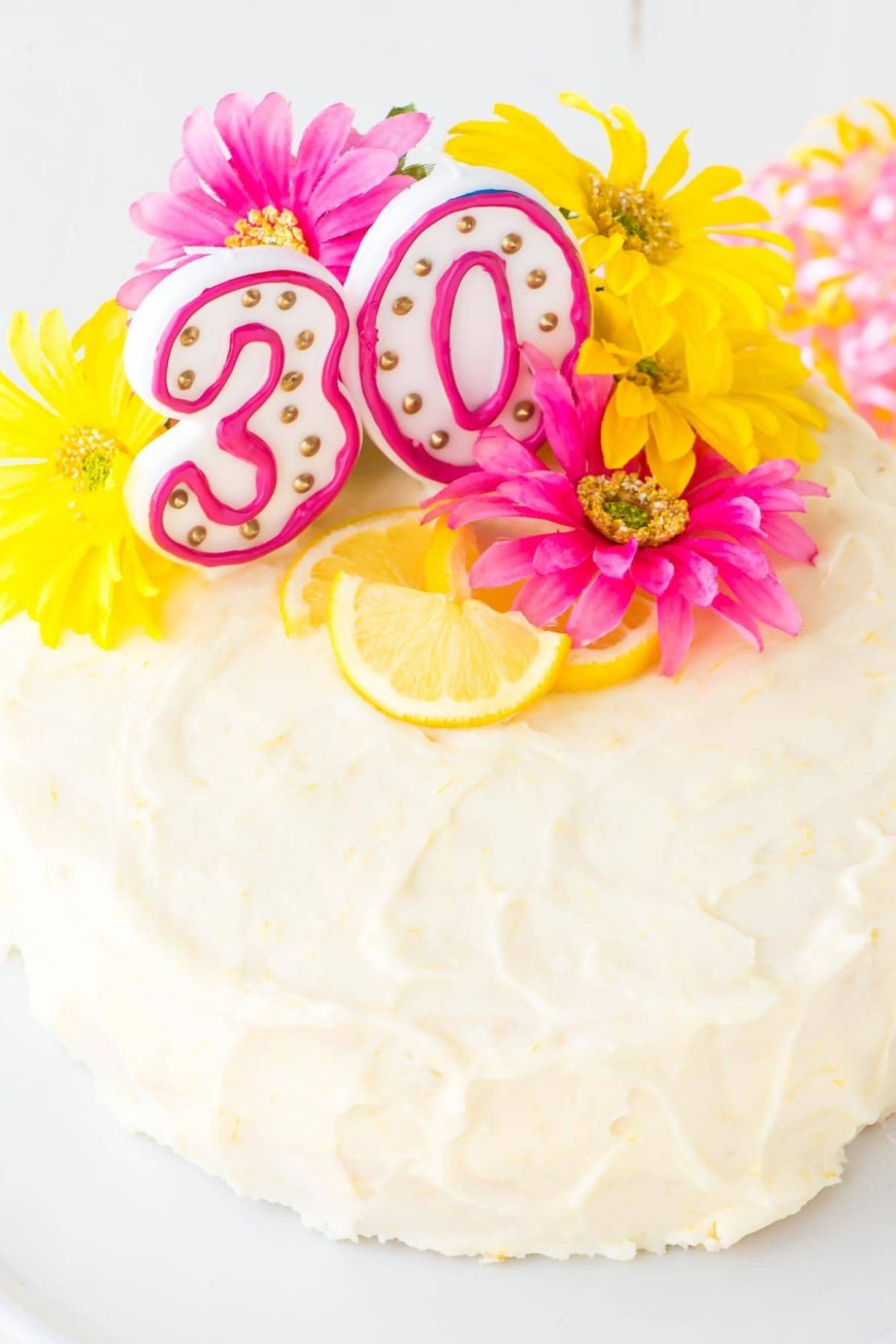 Images Of Birthday Cake Lemon Layer Cake With Lemon Cream Cheese Frosting