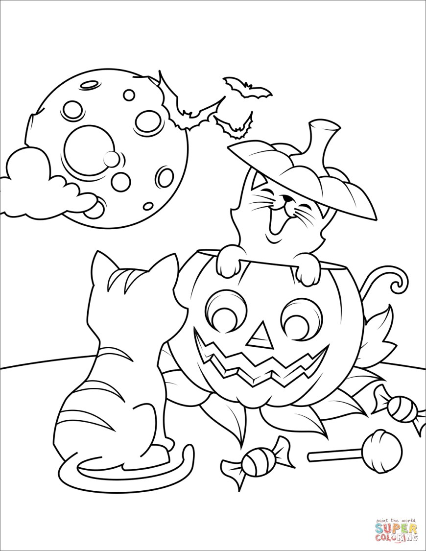 Jack O Lantern Coloring Page Halloween Cats And Jack Olantern Coloring Page Free Printable