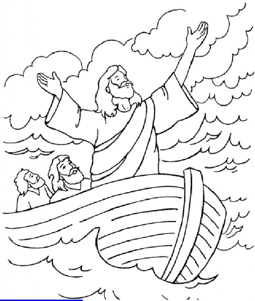 Jesus Calms The Storm Coloring Page Thunderstorm Coloring Page At Getdrawings Free For Personal