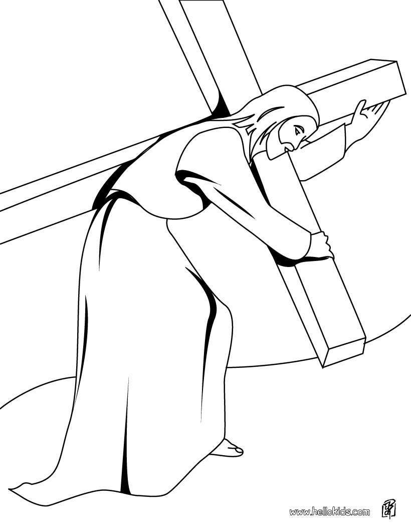 Jesus On The Cross Coloring Pages Jesus Christ Carrying The Cross ...