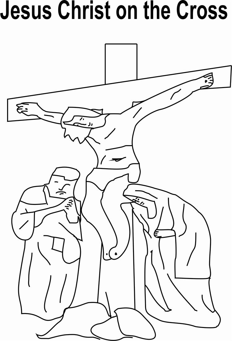 Jesus On The Cross Coloring Pages Jesus Christ On Cross Coloring ...