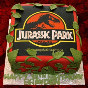 Jurassic Park Birthday Cake Jurassic Park Edible Image Birthday Cake With Fondant Vines And