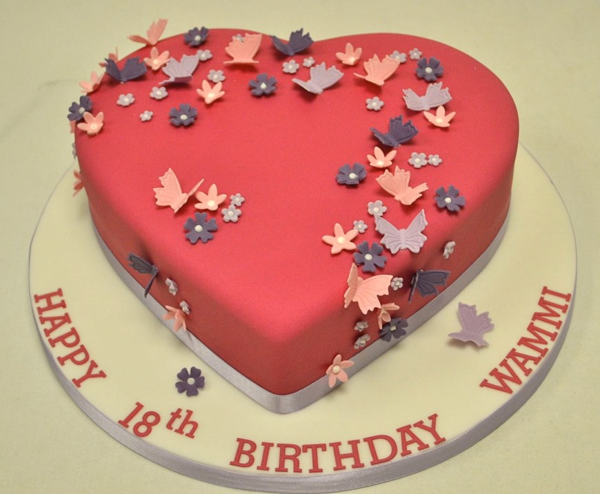 Ladies Birthday Cakes Heart Shaped Blossom And Butterfly 18th Birthday Cake Girls