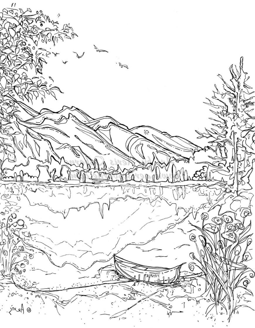 Landscape Coloring Pages Landscape Coloring Pages Xflt Printable Landscape Coloring Pages For