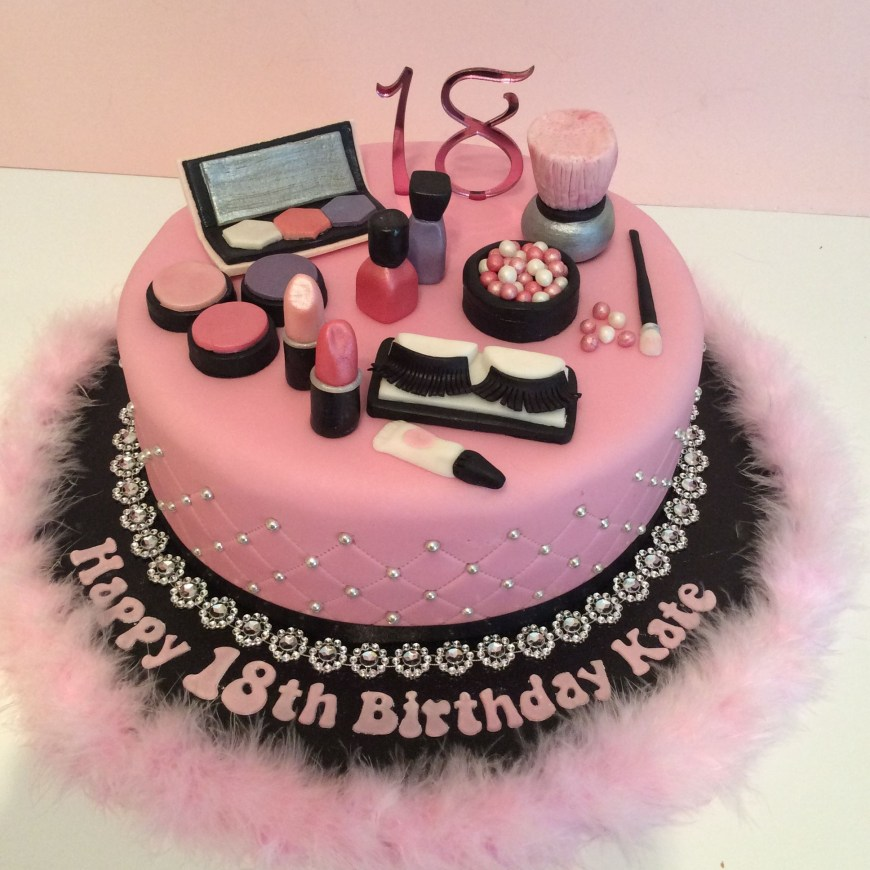 Makeup Birthday Cake Pink 18th Make Up Theme Birthday Cake Make Up Party Ideas