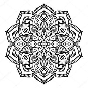 Mandala Coloring Page Schwarz Mandala Coloring Page Stockvektor Amovitania 109027628