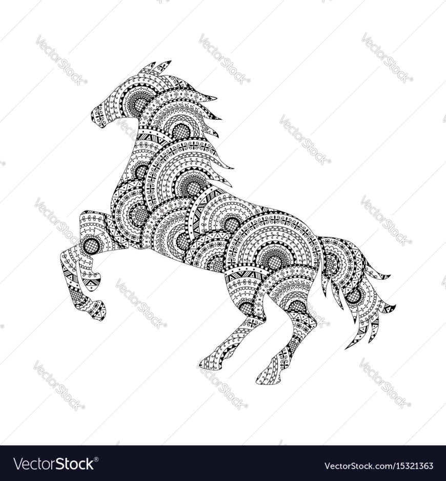 Mandalas Coloring Pages Horse Silhouette From Mandala Coloring Page Vector Image