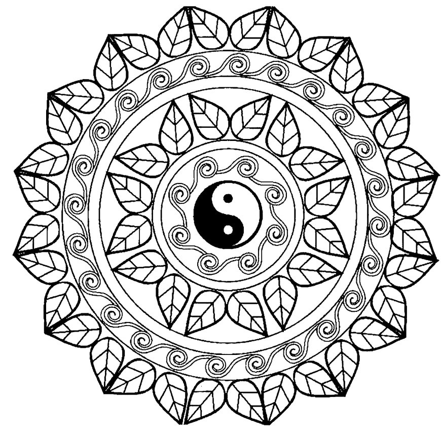Mandalas Coloring Pages Mandala Yin Yang Malas Adult Coloring Pages