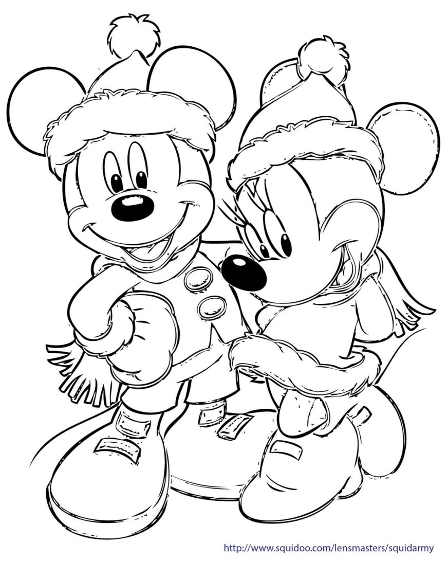 Mickey And Minnie Coloring Pages Mickey Minnie Christmas Coloring Page With Mouse Pages Coloring Pages