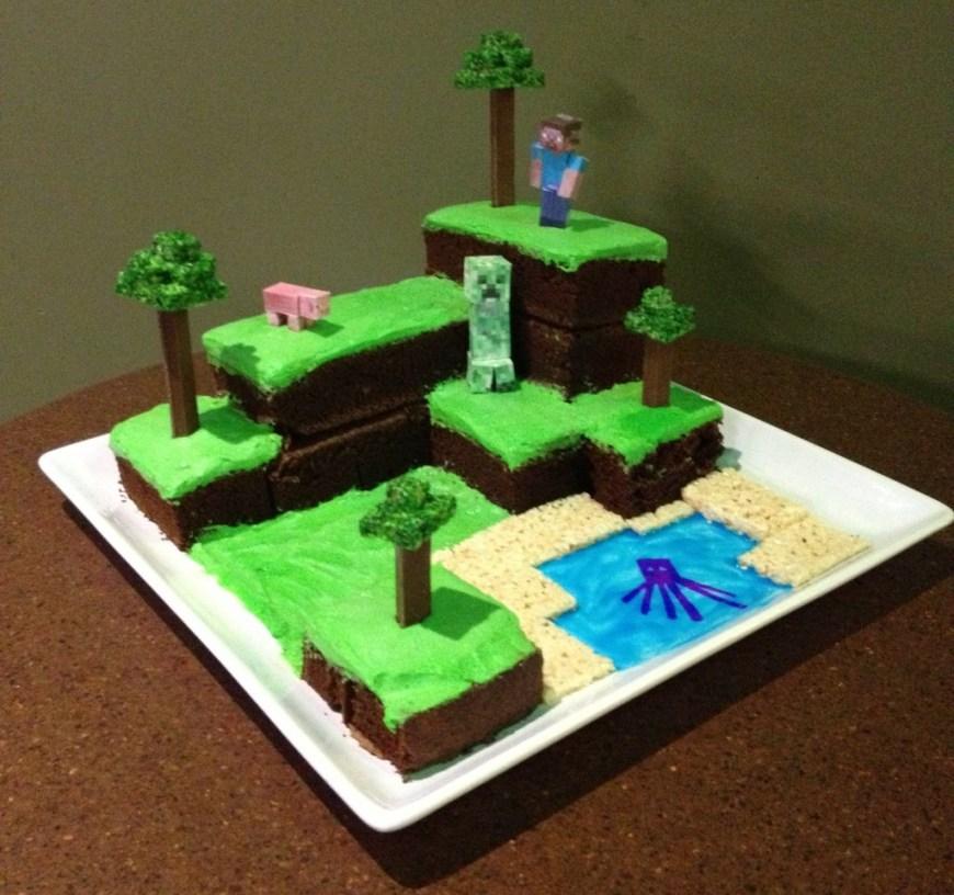 Minecraft Birthday Cake Ideas Minecraft Birthday Cake 0gdr Minecraft World Cake With Pictures