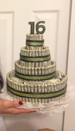 Money Birthday Cake Money Cake 16th Birthday Money Cake Pinterest Money Cake