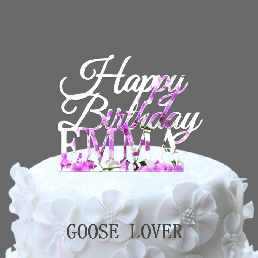 Name On Birthday Cake Custom Name Happy Birthday Cake Topperpersonalized Birthday Cake