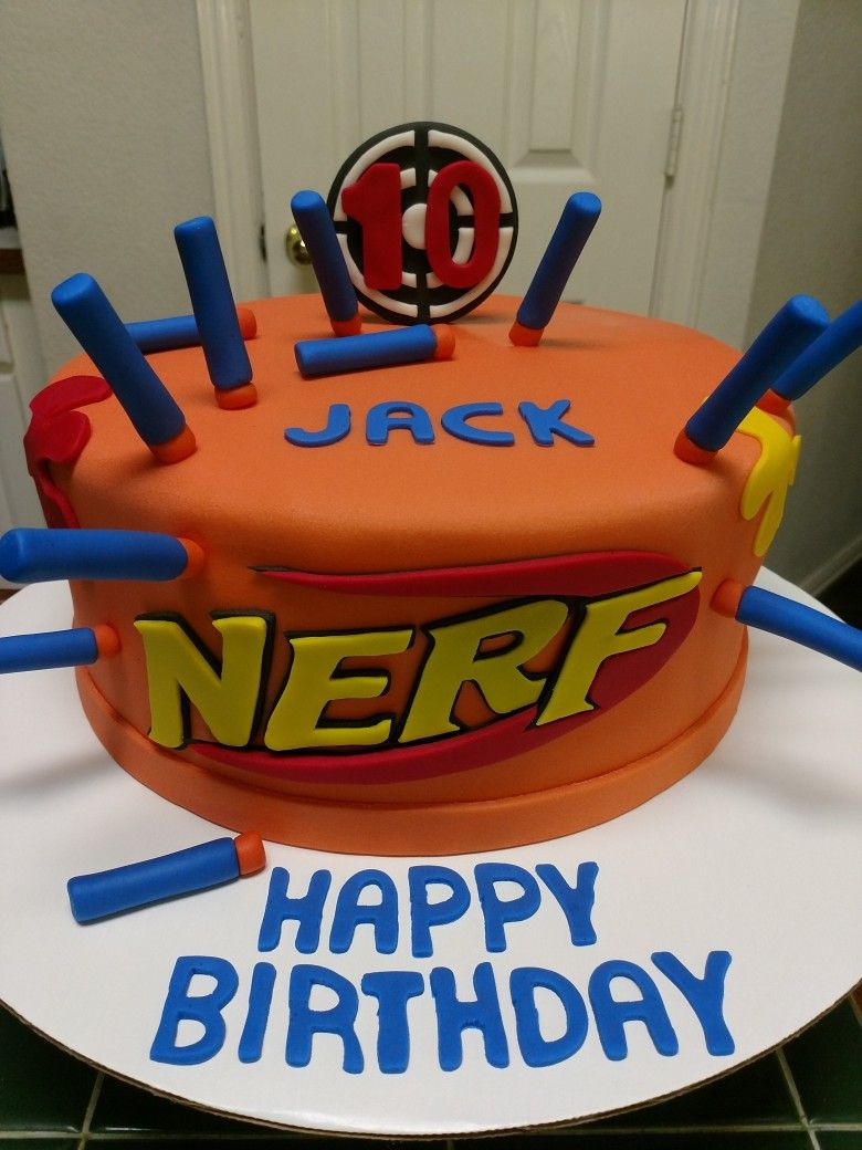 Nerf Birthday Cake Amys Crazy Cakes Nerf Gun Target Cake Party Ideas In 2019