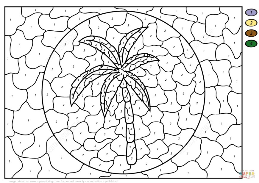 Number Coloring Pages Palm Tree Color Number Free Printable Coloring Pages
