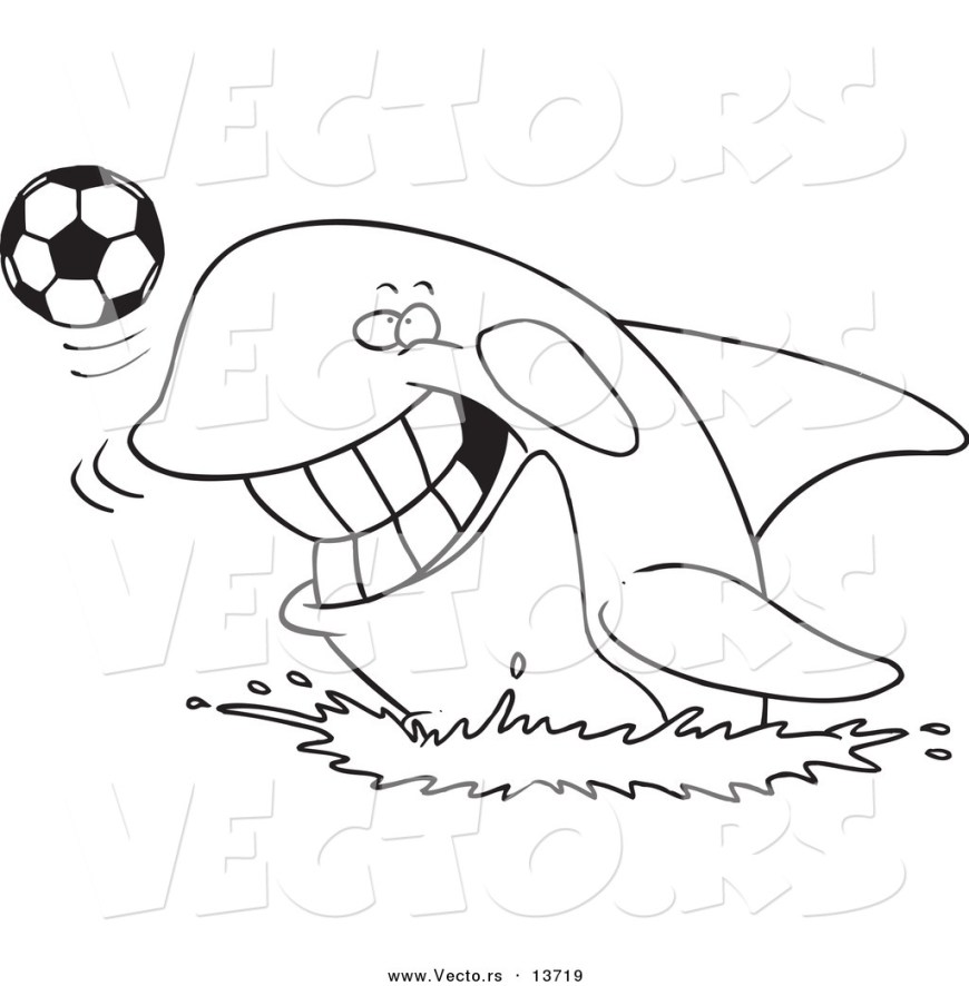Orca Coloring Pages Vector Of A Cartoon Orca Playing With A Soccer Ball Coloring Page