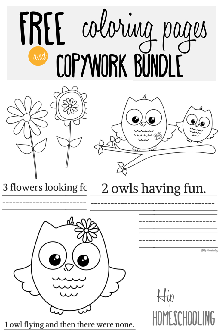 Owls Coloring Pages Free Printable Owl Coloring Pages And Copywork Bundle