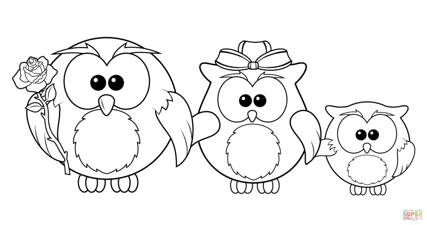 Owls Coloring Pages Simple Owl Coloring Pages With Family Page Free Printable Of 10