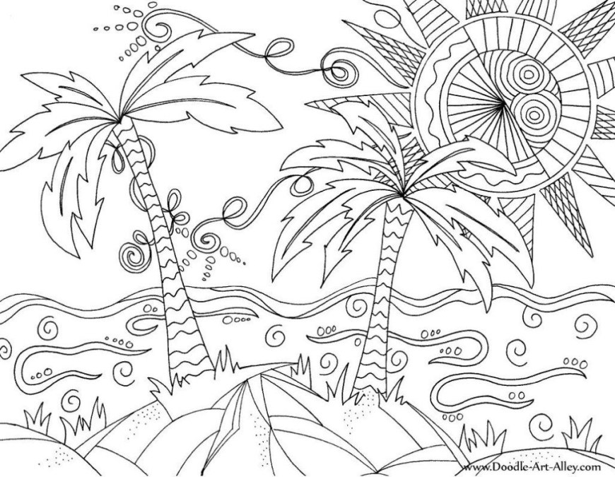 Palm Tree Coloring Page Pioneering Beach Colouring Sheets Palm Trees Coloring Page Easy