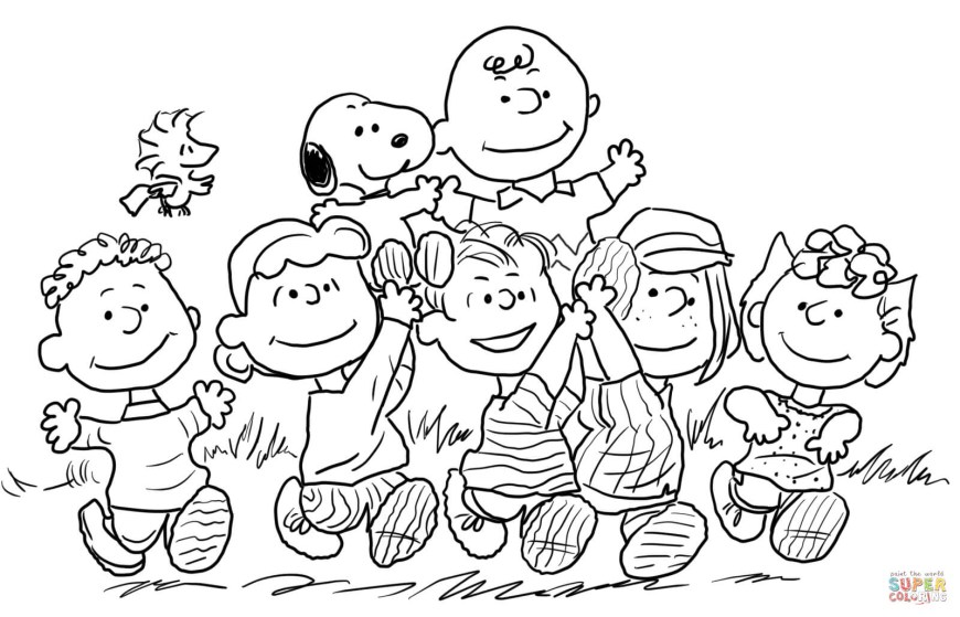 Peanuts Coloring Pages Snoopy With The Peanuts Gang Coloring Page Free Printable Coloring