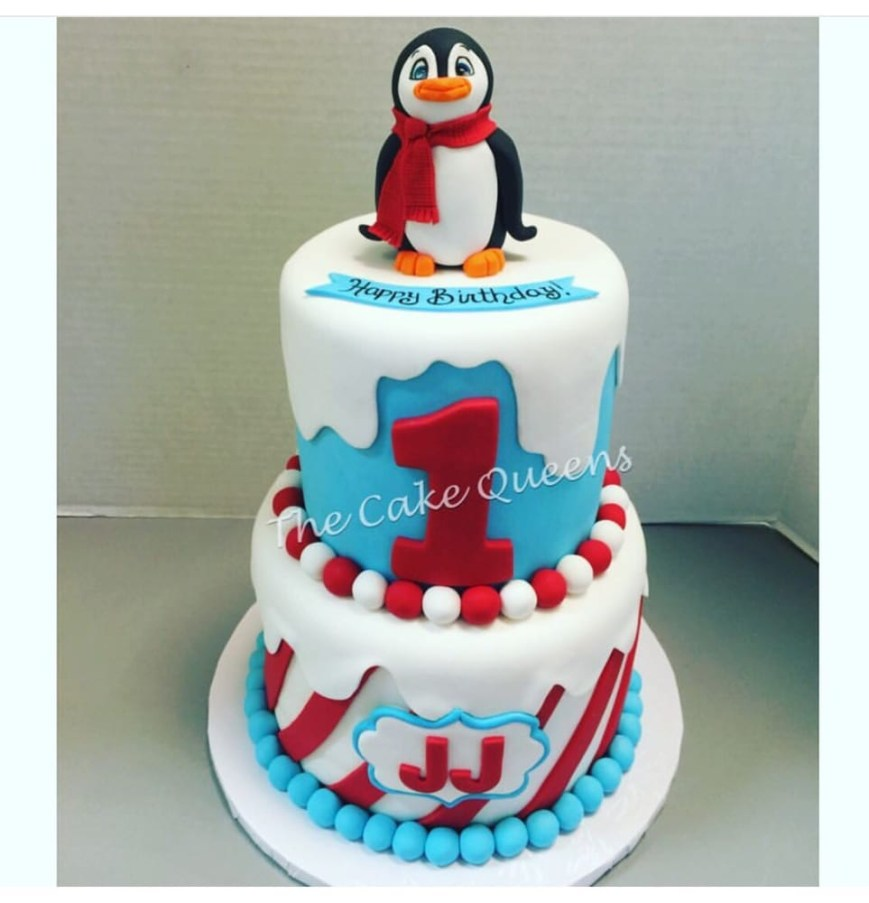 Penguin Birthday Cake 1st Birthday Cake Penguin Themed Yelp