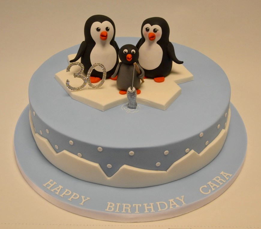 Penguin Birthday Cake Fishing Penguin Family Cake Girls Birthday Cakes Celebration