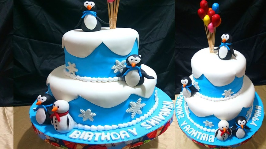 Penguin Birthday Cake How To Make 3 Steps Penguin Birthday Cake Cake Decorating For Kids