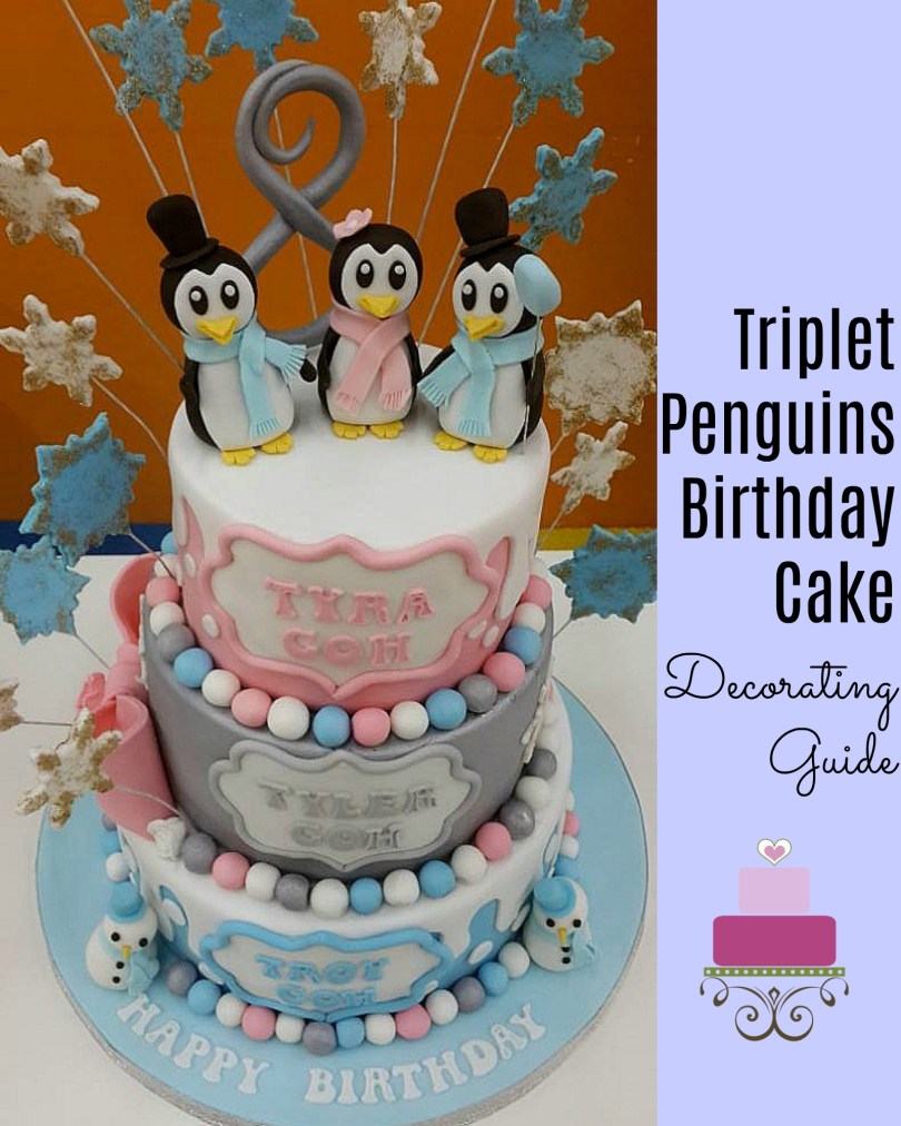 Penguin Birthday Cake Triplet Penguins Birthday Cake