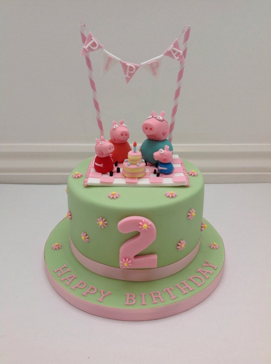 Peppa Pig Birthday Cakes A Peppa Pig Picnic And Bunting Cake Fancy Fondant Party Ideas