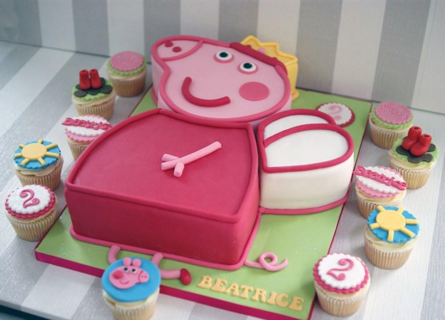 Peppa Pig Birthday Cakes Peppa Pig 2nd Birthday Cake With Cupcakes Bakealous