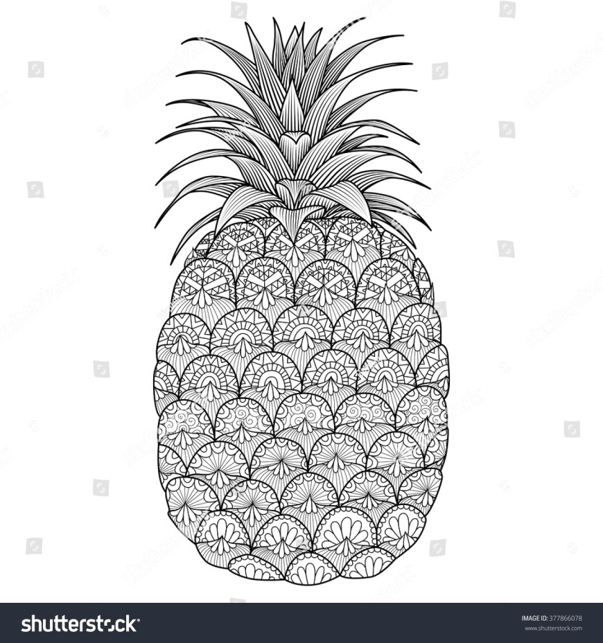 Pineapple Coloring Page Stock Vector Line Art Design Of Pineapple For Coloring Book Adult