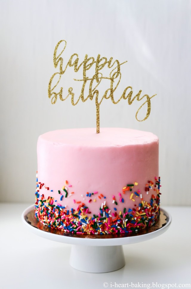 Pink And Gold Birthday Cake I Heart Baking Pink Sprinkles Birthday Cake With Gold Birthday Topper
