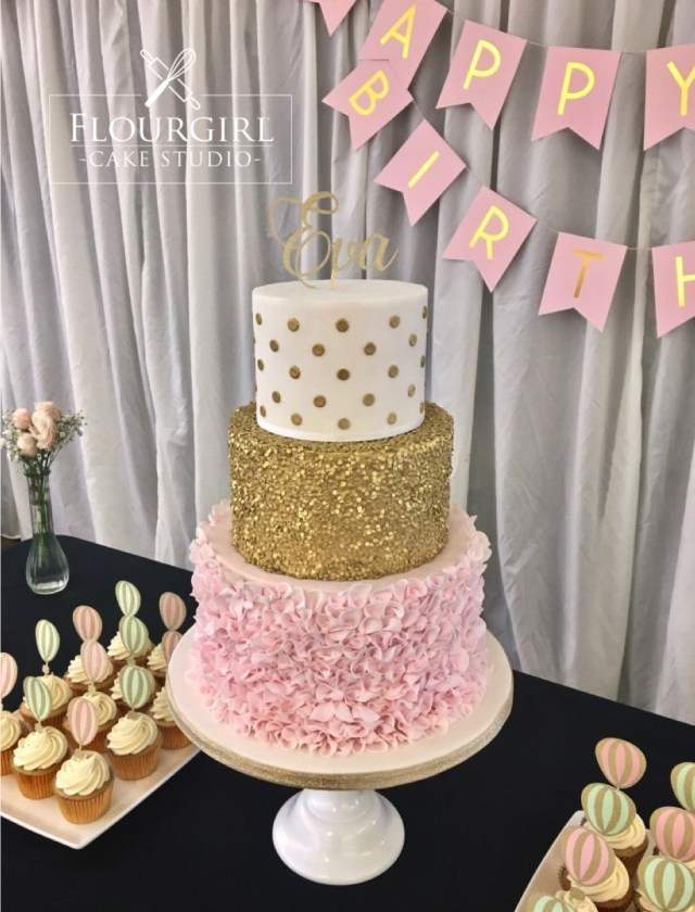 Pink And Gold Birthday Cake Pink And Gold Birthday Cake Pink And Gold Cake Gold Sequin Cake
