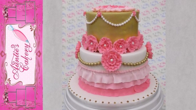 Pink And Gold Birthday Cake Pink Gold Floral Birthday Cake Youtube