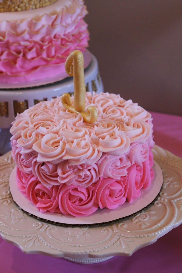 Pink And Gold Birthday Cake Pink Ombre Rosette Smash Cake First Birthday Pink And Gold
