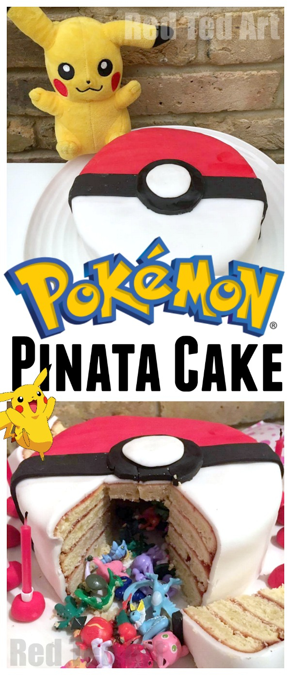 Pokemon Birthday Cake Diy Pokemon Cake Surprise Pinata Pokeball Cake Red Ted Arts Blog