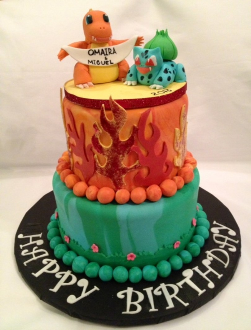 Pokemon Birthday Cake Pokemon Birthday Cakecharmander And Baulbasaur Cakecentral