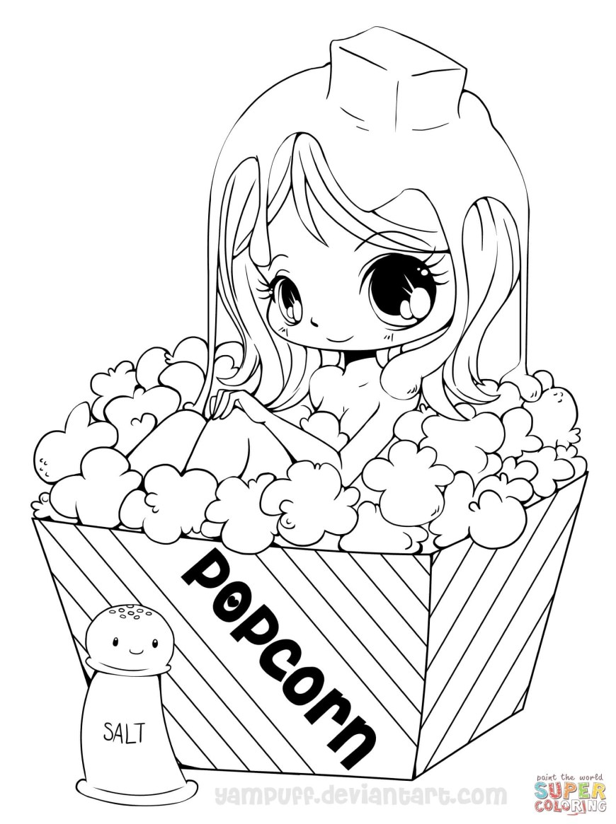 Popcorn Coloring Page Chibi Popcorn Girl Coloring Page Free Printable Coloring Pages