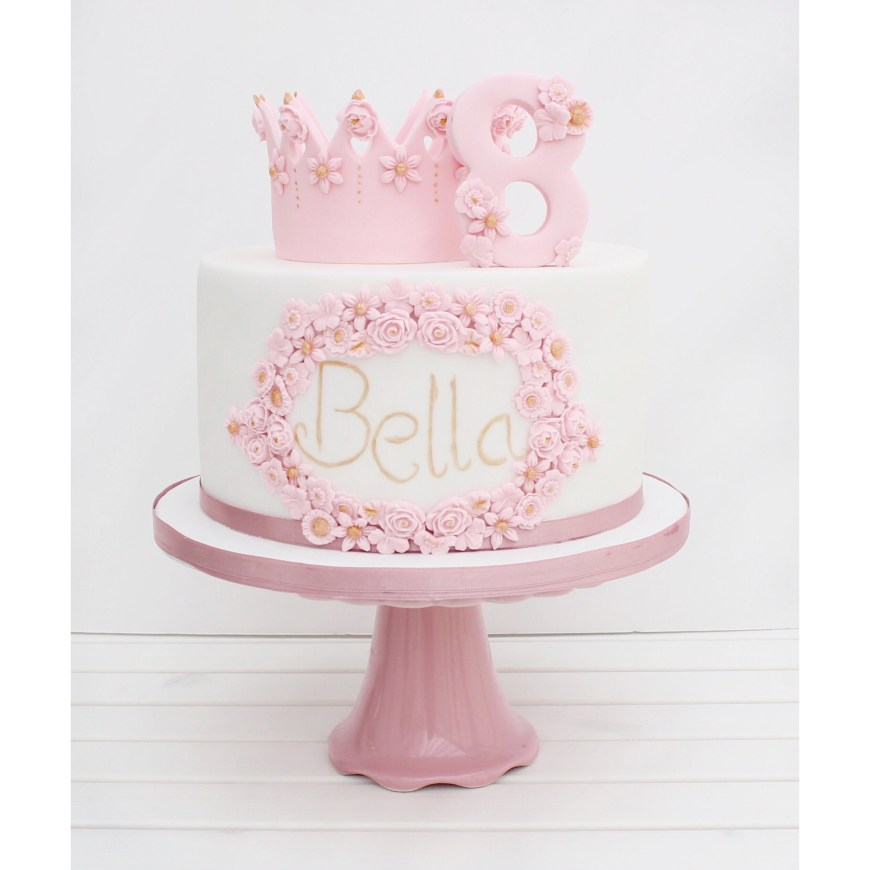Princess Birthday Cake Cherry Crumbs Princess Flower And Crown Birthday Cake Pink Cake