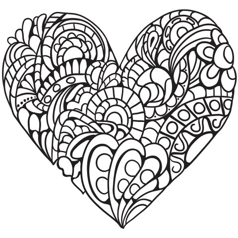 Printable Heart Coloring Pages Zentangle Heart Coloring Page Free Printable Coloring Pages
