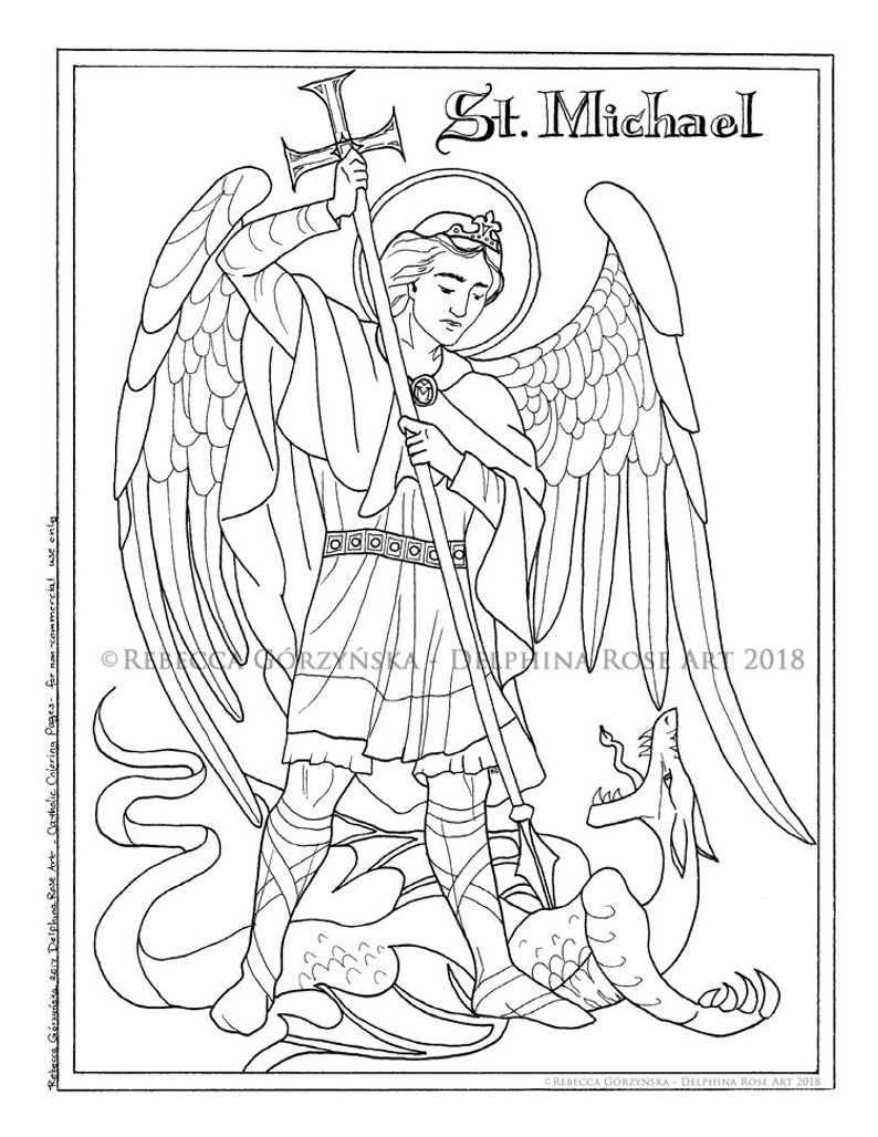 Saint Coloring Pages St Michael The Archangel Coloring Page Catholic Christian Etsy