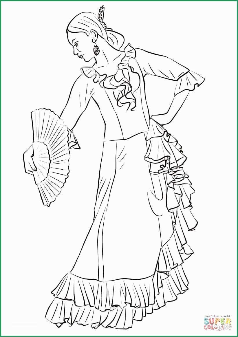 Spanish Coloring Pages Spanish Coloring Pages Admirable Spanish Flamenco Dancer Coloring