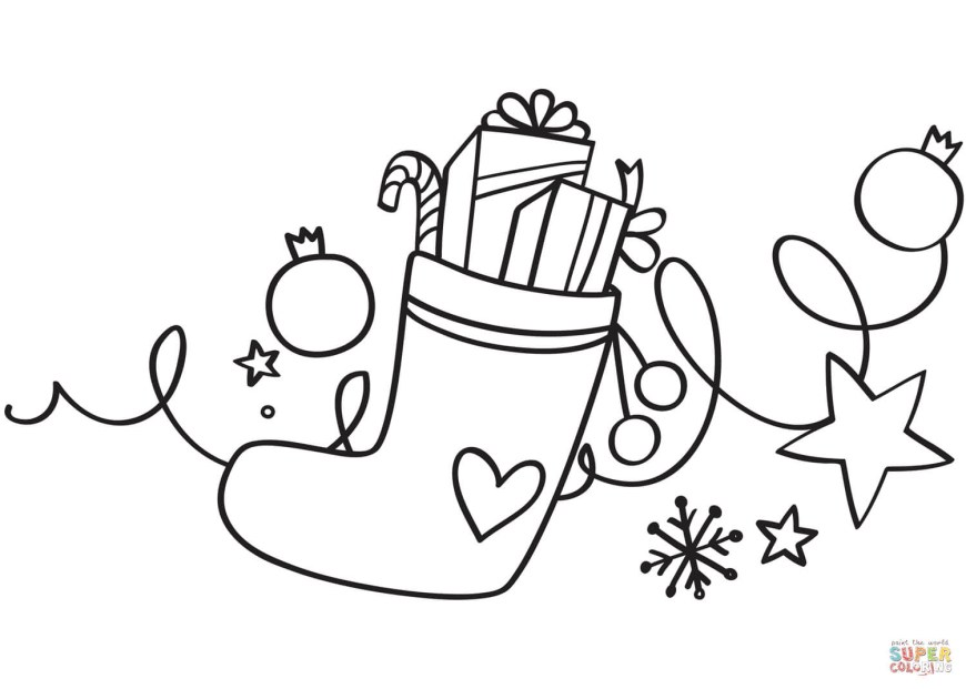 Stocking Coloring Page Xmas Stocking Coloring Page Free Printable Coloring Pages