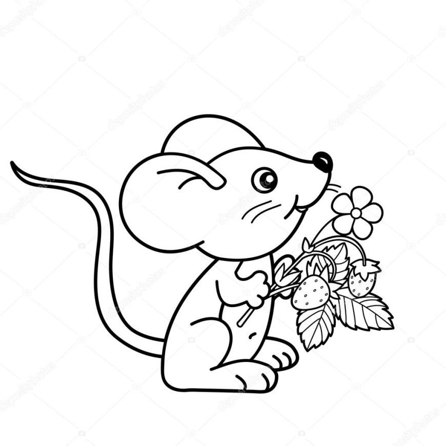 Strawberry Coloring Page Coloring Page Outline Of Cartoon Little Mouse With Strawberries