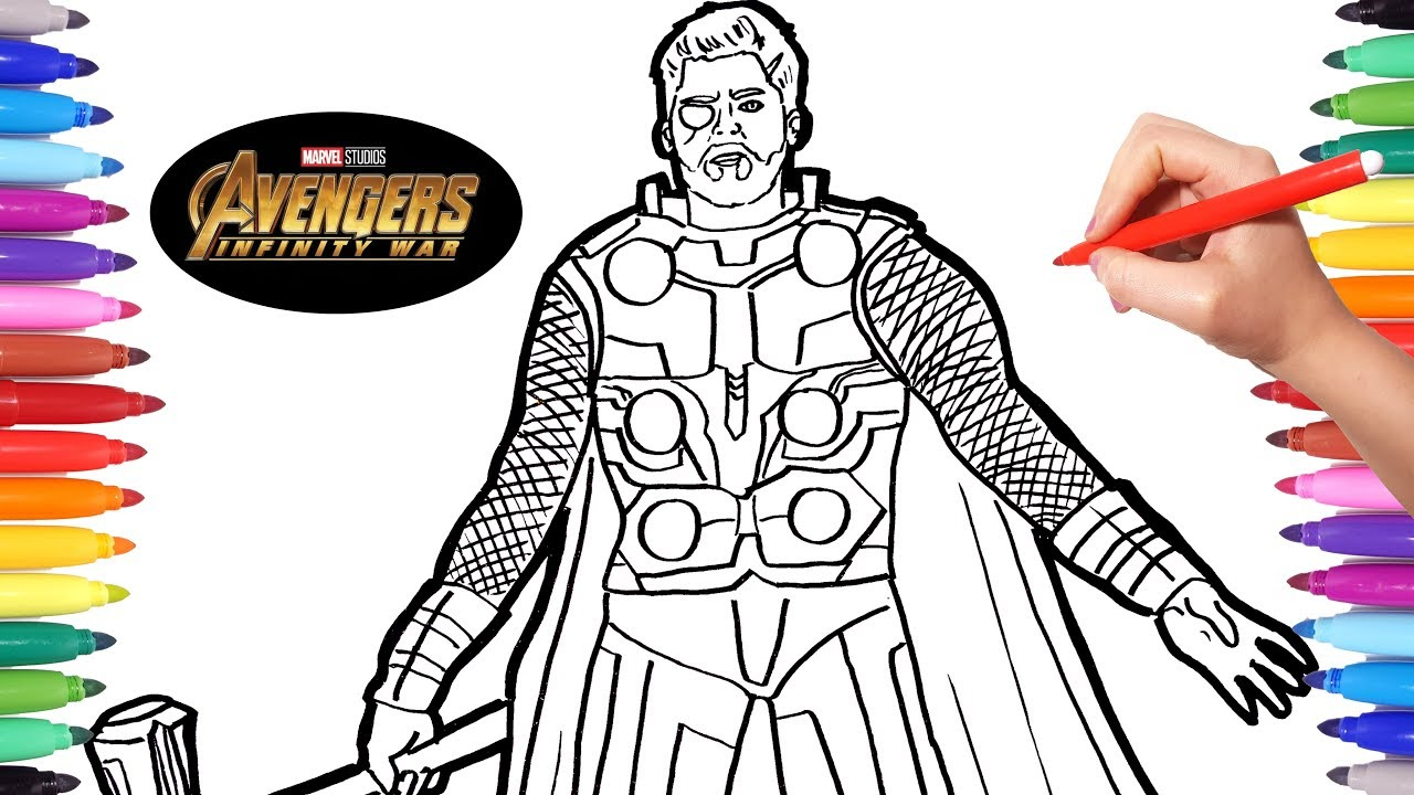 Thor Coloring Pages Avengers Infinity War Thor Avengers Coloring
