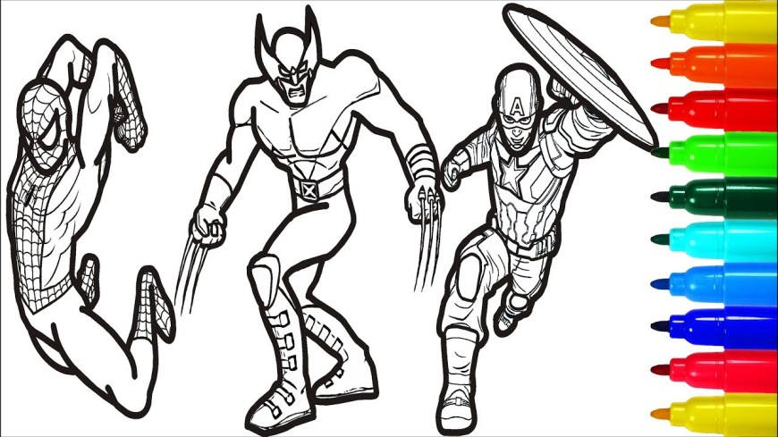 Thor Coloring Pages Spiderman Iron Man Captain America Wolverine Thor Coloring Pages