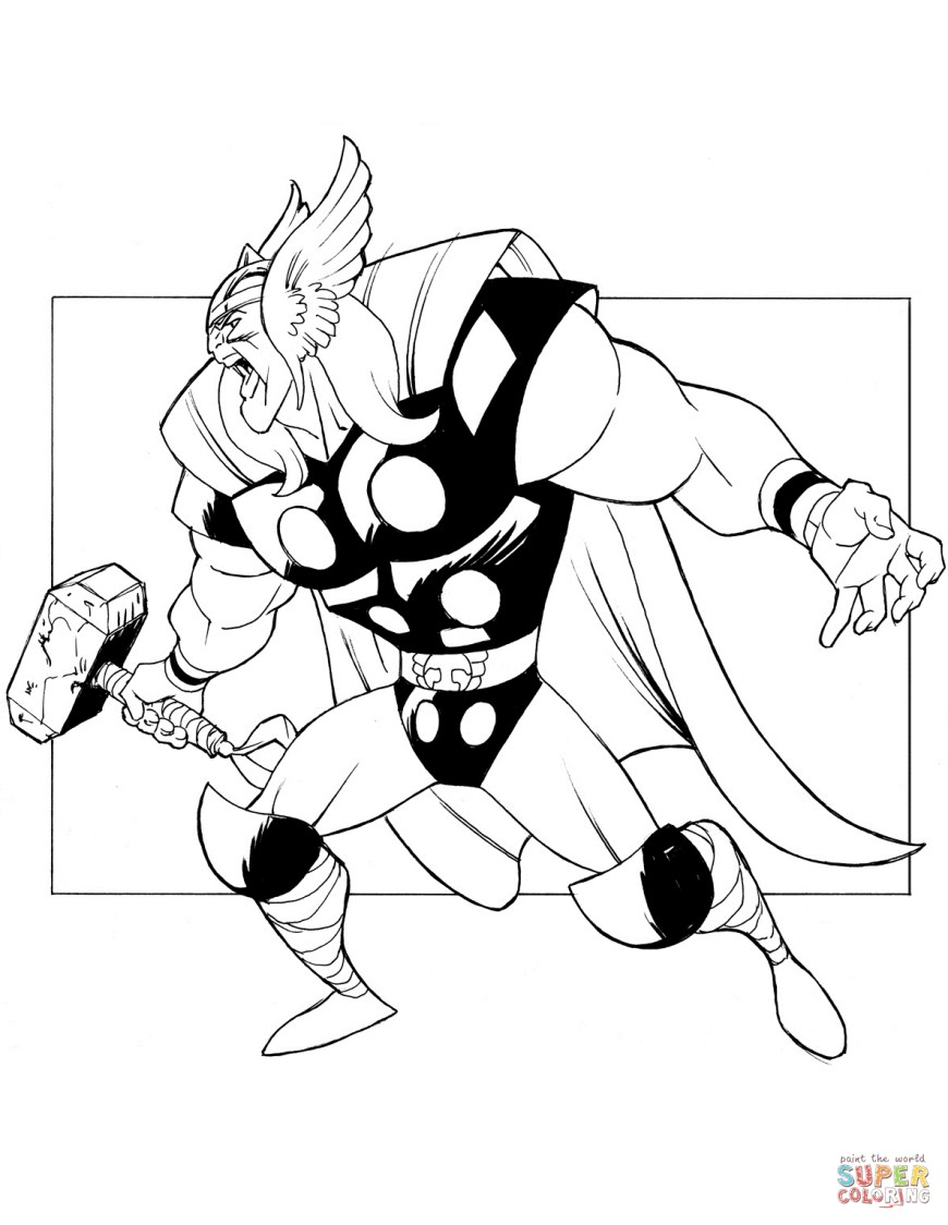 Thor Coloring Pages The Mighty Thor Coloring Page Free Printable Coloring Pages