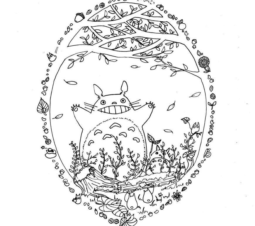 Totoro Coloring Pages Free Totoro Coloring Pages Printable Cat Bus Page My Neighbour