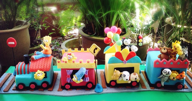 Train Cakes For Birthdays Mom And Daughter Cakes 3d Train Cake With Simpsons Family And